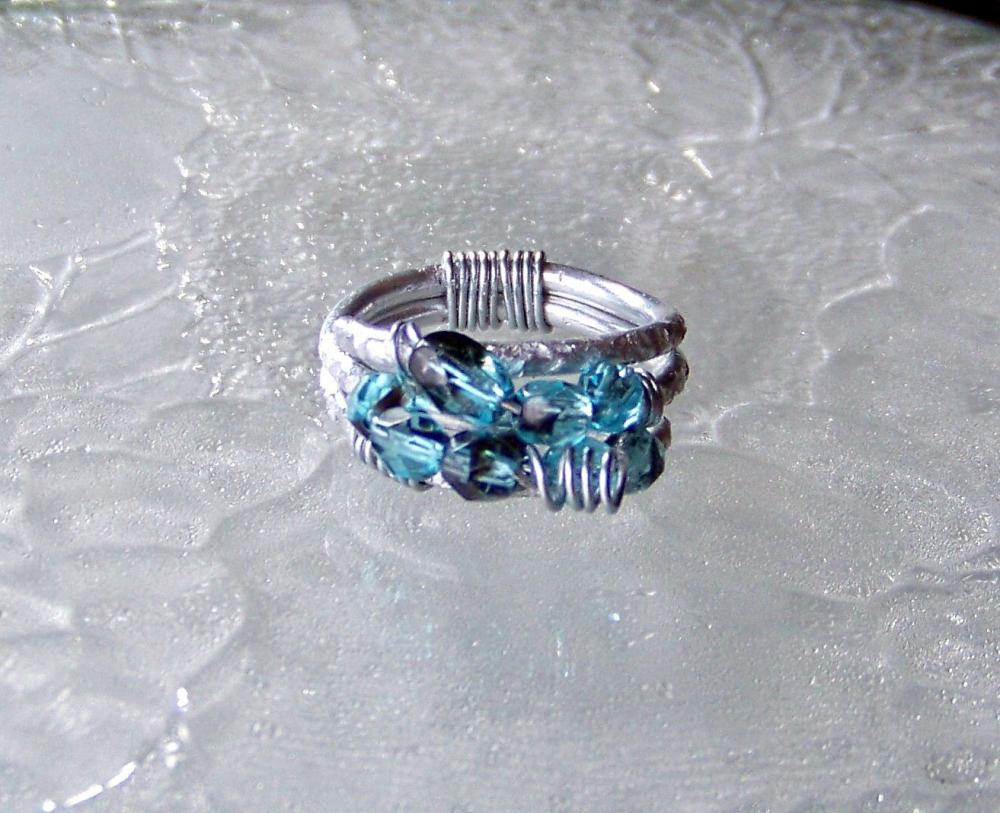 Blue Wire Wrapped Cluster Ring - size 6 adjustable