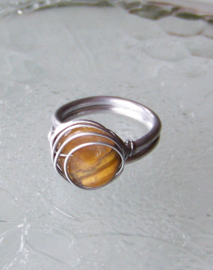 Tiger Eye Wire Wrapped Ring - size 7 adjustable OOAK