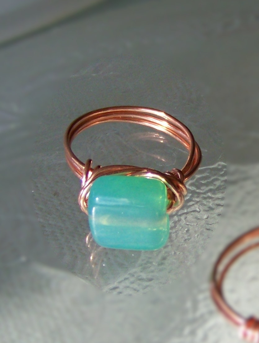 Ring size 6.5 - Aqua Blue and Copper Wire Wrapped OOAK Art Ring