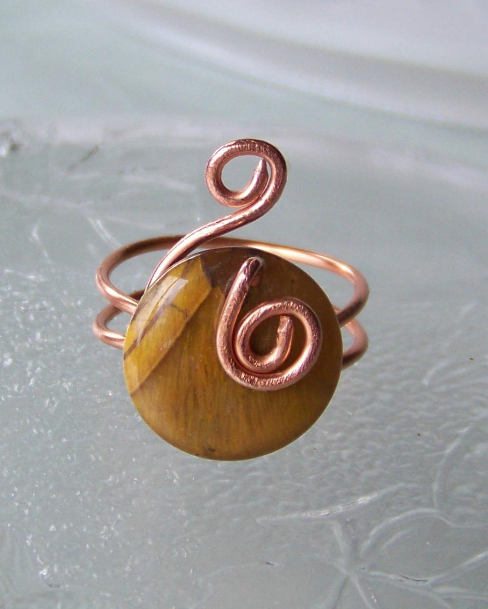 Ring sz 10 - Wire Wrapped Copper with Cat's Eye Stone