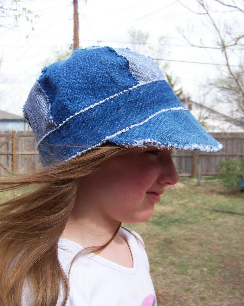 "Sz. 23"" Newsboy Cap Hat in Recycled Rag Denim"