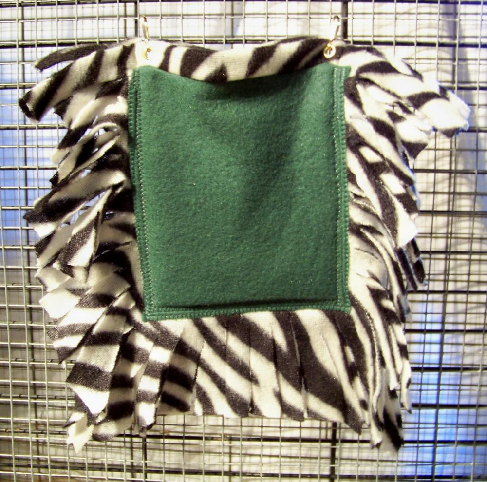 FLEECE BONDING POUCH for Small Pets - Green with Black and White Zebra Stripe patterned Fleece - 5x6 inches
