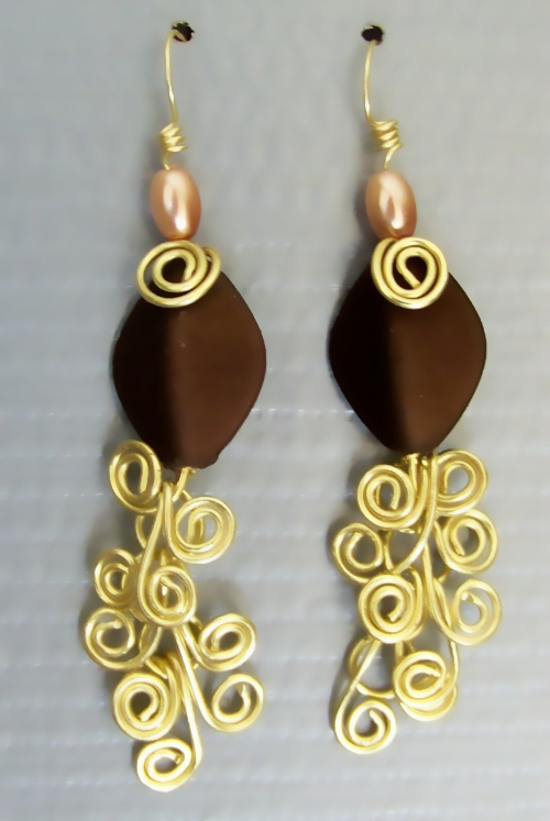 Dangling Earring Pair, Golden Brass Egyptian Swirl Link and rich brown and peach beads