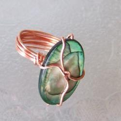 Ring size 7 - Twisted Copper Wire Wrapped OOAK Art Ring