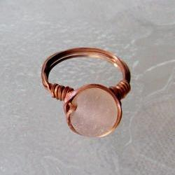 Ring size 6 - Twisted Antiqued Copper Wire Wrapped OOAK Art Ring