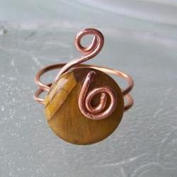 Ring sz 10 - Wire Wrapped Copper with Cat&#039;s Eye Stone