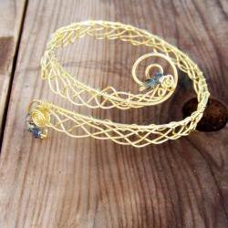 Armband Bracelet Brass Wire Loose Weave Woven Arm Cuff Bangle Bracelet Adjustable
