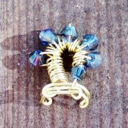 Ear Cuff - Swirls Solid Brass Wire Wrapped with Blue Bicone Crystal Beads