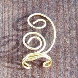 Ear Cuff - Swirls Solid Brass Wire Wrapped