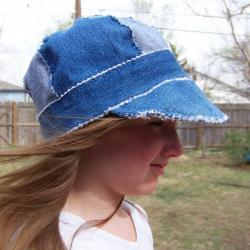 Sz. 23&quot; Newsboy Cap Hat in Recycled Rag Denim