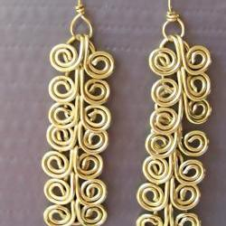 Dangle Earrings Pair, Custom Length, Golden Brass Egyptian Swirl Link