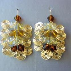 Dangle Earrings Pair, Custom Length, Golden Brass Egyptian Swirl Link and Shades of Yellow and Amber fire polished beads