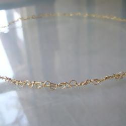 Necklace, Golden Brass Crochet, 20 inch Length